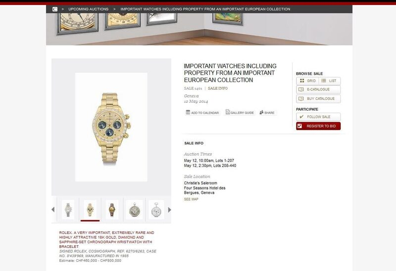 Christies to Auction Rolex Watches May, 12 in Geneva