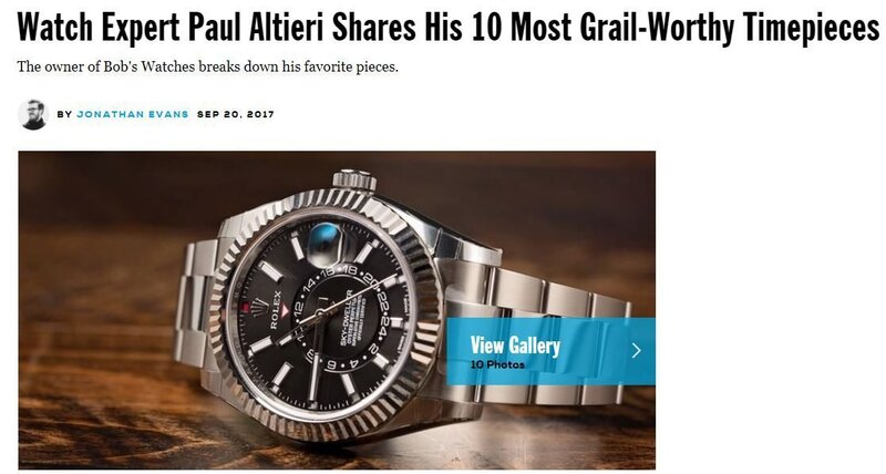 Esquire Features Bob's Watches CEO Top 10 Must-Have Watches