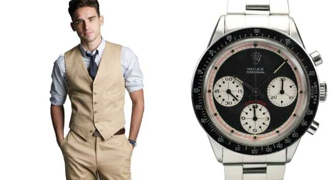 The Perfect Pair: Tan Suit and Rolex Daytona